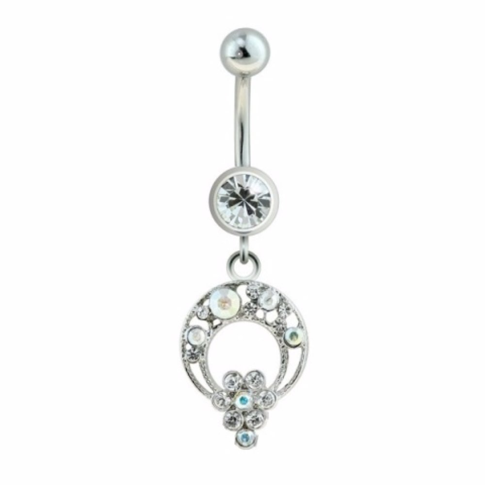 CZ Loop Flower Charm Dangle 316L Surgical Steel Freedom Fashion Navel Ring Sold Individually