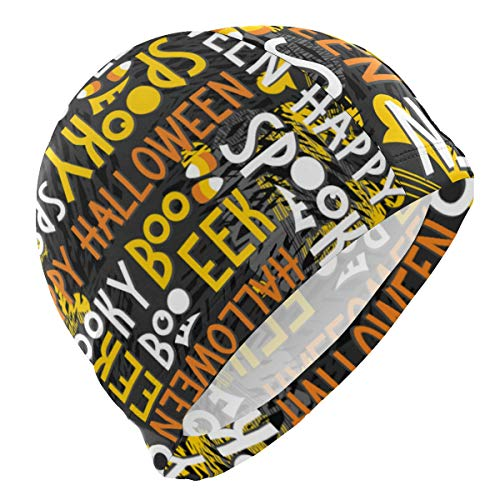 PNGLLD Swim Cap Letter Halloween Boo Swimming Cap for Men Boys Adult Youth Teen Swimming Hat No-Slip]()