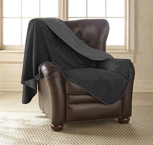 Mambe 100% Waterproof Silky Soft Throw for Dogs, Cats, and People (Medium 60″x 60″, Black-Charcoal) Made in The USA