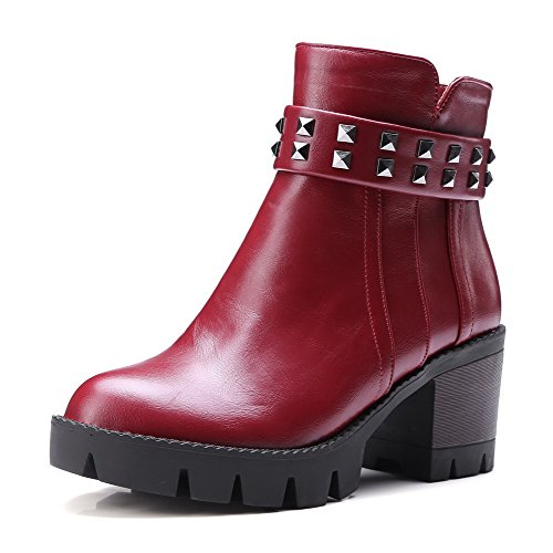 AmoonyFashion Womens Round Closed Toe Kitten Heels Low Top Solid Boots Claret