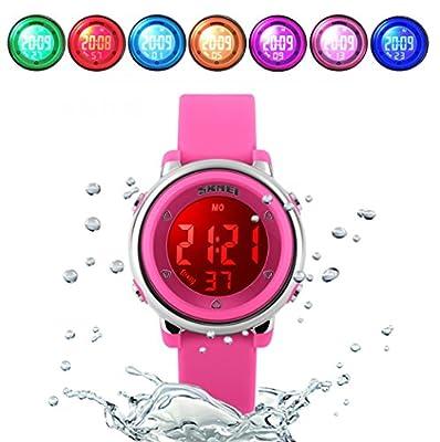WUTONYU(TM) Children Digital Watch Kids Boy Girls LED Alarm Stopwatch Waterproof Wristwatches(Rose) by WTYTY