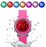 WUTONYU(TM) Children Digital Watch Kids Boy Girls LED Alarm Stopwatch Waterproof Wristwatches(Rose)