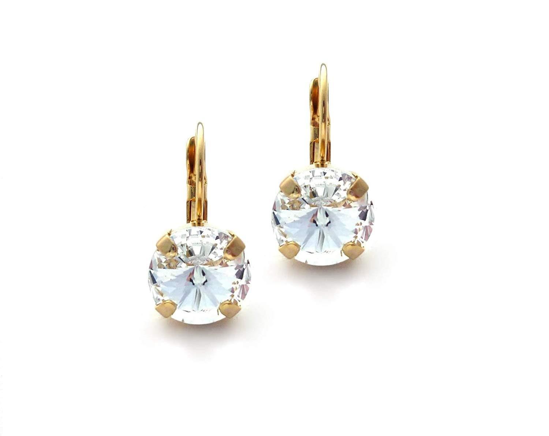 Blue silver earrings Classic crystal earrings Everyday rivoli earrings Statement glass earrings Bohemian round earrings Geometric earrings