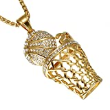 UNAPHYO Men's Stainless Steel Number 23 Mini Basketball Gold Plated Hip Hop Diamond Pendant Charms Necklace 24 Inches Chain