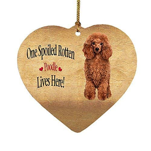 Red Poodle Spoiled Rotten Dog Heart Christmas Christmas Ornaments Funny Novelty Porcelain Hanging Christmas Tree Decoration Christmas Tree Decorations
