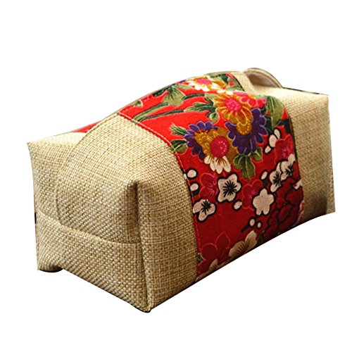 PANDA SUPERSTORE Handmade Vintage Style Red Flora Pattern Cloth Tissue Holder Cover