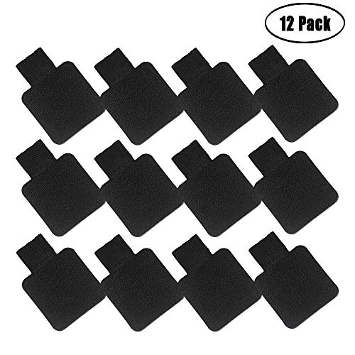 Heqishun Self-Adhesive Pen Holder with Elastic Band Loop 12 Pcs Black Leather Pencil Stylus Loop Holder for Journals, Notebooks, Planner