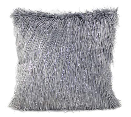 Silver Fur (Fennco Styles Holiday Christmas Decorative Exquisite Faux Fur with Silver Lurex Thread Throw Pillow - 2 Colors (Grey, 17