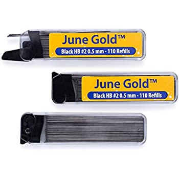 June Gold 330 Lead Refills, 0.5 mm HB #2, Fine Thickness, Break Resistant Lead (Graphite) with Convenient Dispensers