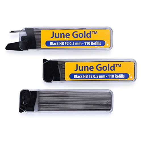June Gold 330 Lead Refills, 0.5 mm HB #2, Fine Thickness, Break Resistant Lead (Graphite) with Convenient Dispensers (Pencil Automatic Lead)