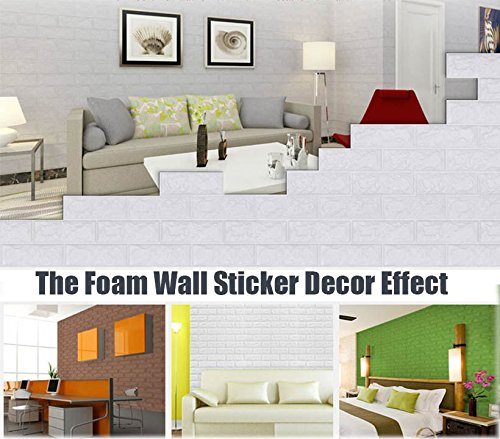 3D Wall Panels Stickers White Brick For Living Room Bedroom Kids Children's Room, Self Adhesive Peel&Stick Faux Foam Bricks Wallpaper 8 PACK by POPPAP (Image #9)
