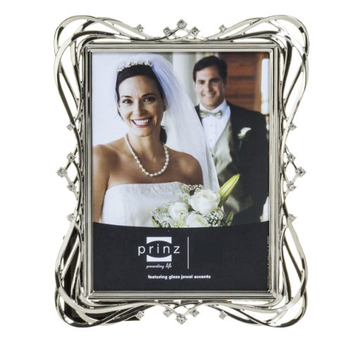Ornate Metal Frame - Prinz Enchanted Silver Plated Metal Frame with Jewels, 8 by 10-Inch