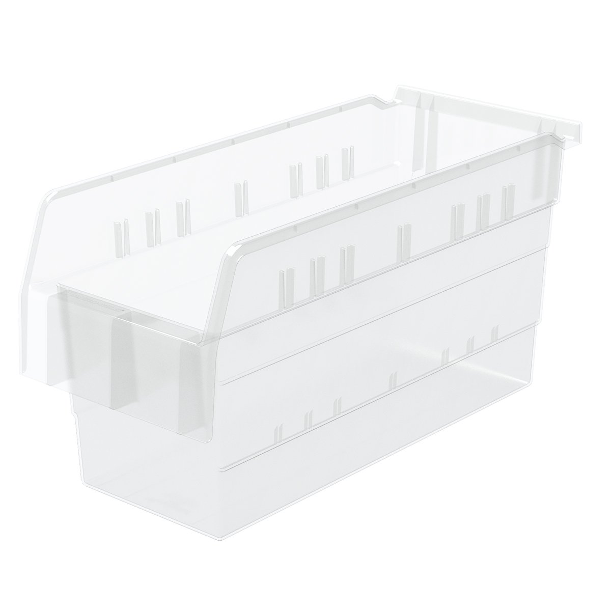 Akro-Mils 30866 ShelfMax 8 Plastic Nesting Shelf Bin Box, 16-Inch x 6-Inch x 8-Inch, Clear, 10-Pack