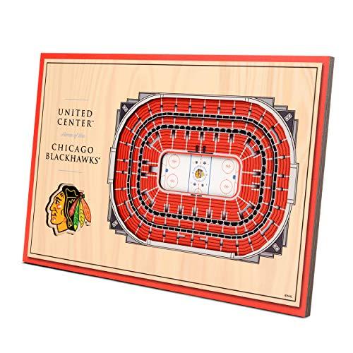 YouTheFan NHL Chicago Blackhawks Unisex Chicago BlackhawksDesktop Stadium View, Wood Grain, Desktop