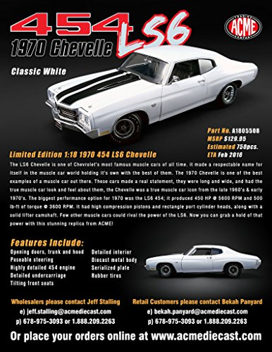 1970 Chevrolet SS 454 LS6 Chevelle Classic White with Black Stripes Limited Edition 1/18 by Acme A1805508 (Rpm 5600 Camshafts)