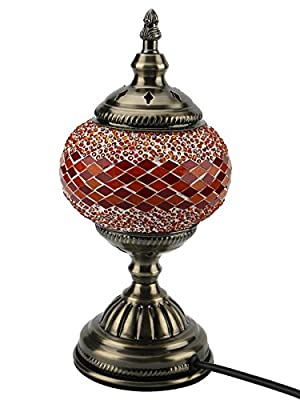 Marrakech Handmade Turkish Mosaic Moroccan Style Glass Table Lamp with E12 LED Bulb 28cm?11??