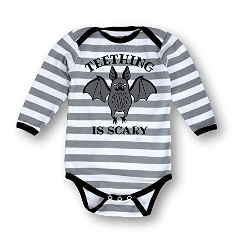 [Teething Is Scary Infant Long Sleeve One Piece - Gray/ White Newborn] (Easy But Cute Halloween Treats)