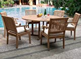 New 7 Pc Luxurious Grade-A Teak Dining Set – 60″ Round Table And 6 Arm Chairs [Model:SK1]