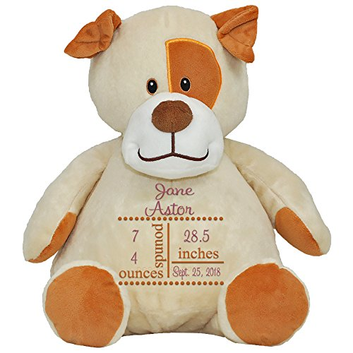 (LD Bags Personalized New Baby Birth Announcement Stuffed Puppy Dog for Girls and Boys (Girls))