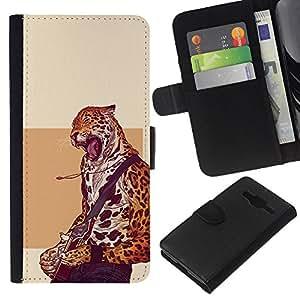 All Phone Most Case / Oferta Especial Cáscara Funda de cuero Monedero Cubierta de proteccion Caso / Wallet Case for Samsung Galaxy Core Prime // Cheetah Rock Star - Cool Cat