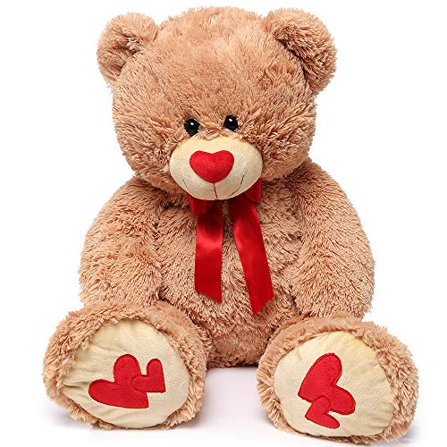 MaoGoLan Giant Teddy Bear Large Stuffed Animals Plush Big Bear with Love Heart for Girlfriend Children Christmas Valentines Day 35 Inch, Light Brown