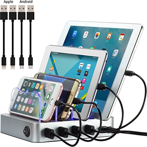 Simicore Smart Charging Station Dock & Organizer for Smartphones, Tablets & Other Gadgets - 4-Port Compact Multiple USB Charger & Phone Docking Station with Charging Status Indicator (Silver) by Simicore
