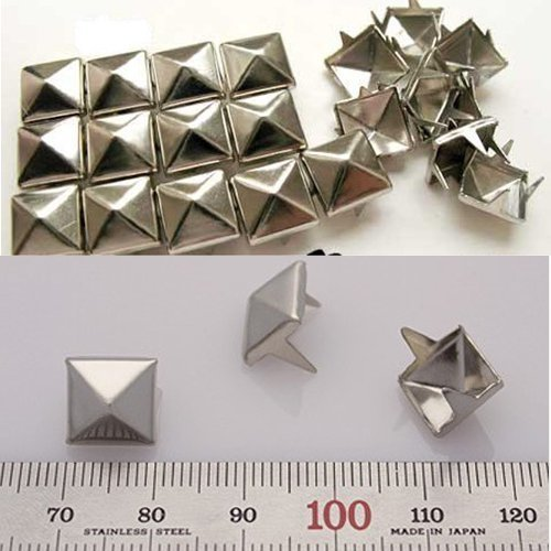 OOOUSE DIY Goth Punk Spikes Spots 10mm Silver Flat Back Metal Pyramid Studs 4 Prongs Leathercraft 100 - Back Studs Pyramid Flat