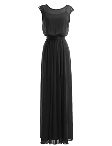 Diyouth Long Chiffon Scoop Neck Bridesmaid Dresses Evening Gowns with Belt