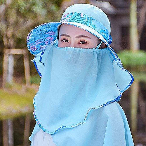 bluee Women's Adjustable Beach Floppy Sun Hat