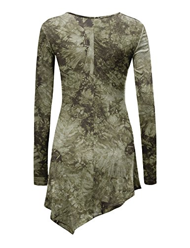 WT1062 Womens V Neck Long Sleeve Tie Dye Handkerchief Hem Tunic XXXL OLIVE by Lock and Love (Image #2)