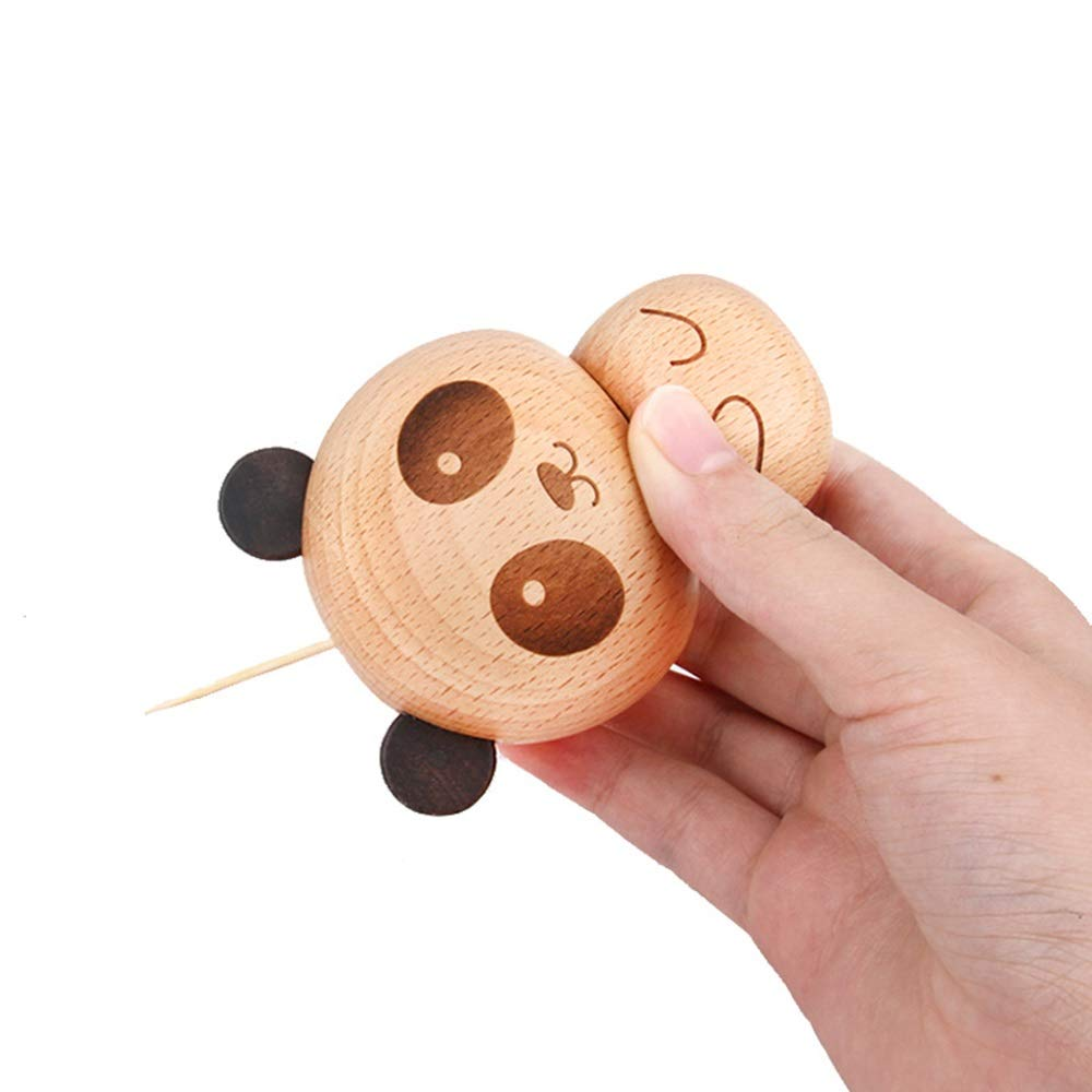 Solid Wood Creative Cartoon Little Panda Toothpick Can Toothpick Box Home Living Room Study Restaurant Decoration Wooden Craft Fun Gift, Strong Sense Of Three-dimensional You deserve to have by Waitousanqi