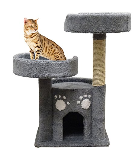 Kitty Condo Perch Scratching Sisal Post, Gray Carpet For Sale