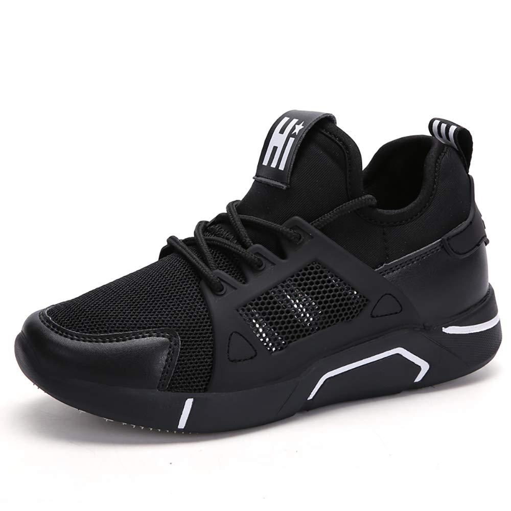 PAMRAY Donna Scarpe da Ginnastica Sportive Piattaforma Jogging Sneakers da Corsa Aumentata Palestra Allacciare Casual Fondo Alto 5cm PU VS Maglia Due Tipi Nero-Bianco Nero-Rosso 34-39