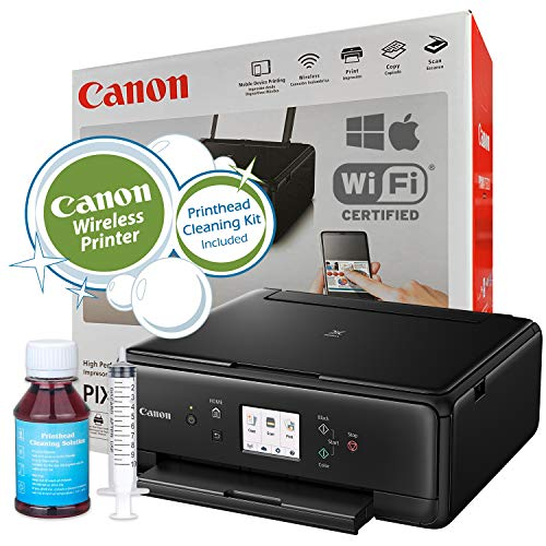 (Canon PIXMA TS6020 (Black) Wireless Small Printer Copy Scan with Mobile AirPrint Printing for Mac and Windows with Ink Cartridges and Inkjet Printhead Cleaning Kit)