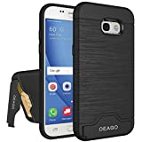 Galaxy A5 2017 Case, Samsung Galaxy A5 2017 Case OEAGO [Card Slot] [Brushed Texture] Heavy Duty Hybrid Dual Layer Wallet Case Cover Shell with Kickstand for Samsung Galaxy A5 (2017) - Black