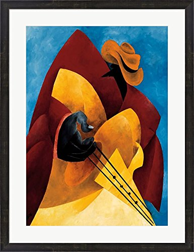 Uptown Blues by Philemon Reid Framed Art Print Wall Picture, Espresso Brown Frame with Hanging Cleat, 27 x 35 inches