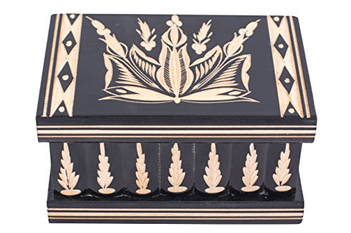 Kalotart Jewelry and Puzzle Box 2 in 1 - Handmade Wooden Case with Hidden Key and Removable Compartments - Beautiful Classical Wooden Carved Jewelry Puzzle Box (Black)