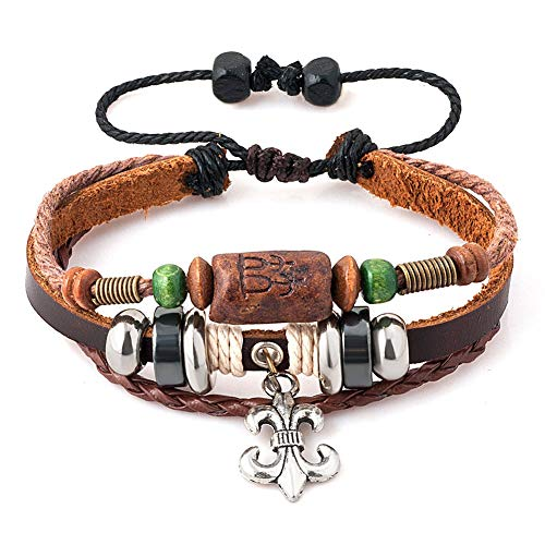 CLY Jewelry Fleur De Lis Tribal Braided Multilayer Vintage Charm Copper Cuff Wrap Wristband Leather Beaded Bracelet