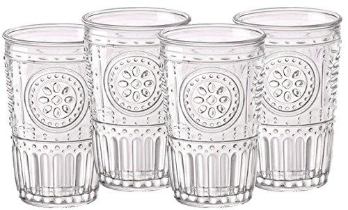 Bormioli Rocco 387595G10021990 Romantic Tumbler - 11.50 oz - 4 Piece Set, - Glass Vintage Pattern
