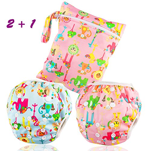 Dwave 2pcs Pack One Size Baby & Toddler Reusable Washable Swim Diapers (Zoo Animals)