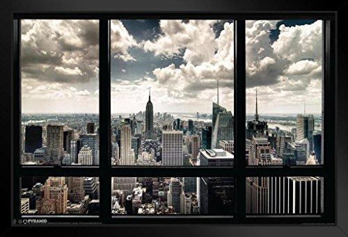 (Pyramid America New York City Window Skyline Photo Framed Poster 20x14 inch)