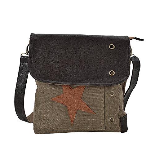 Bolso Roja Estrella Mujeres Con x x 6cm con Estrella Marrón de Haus Bolso Hombro de Lino 27 Beige 30 para Oscuro Neu Gris 1PqpBwq