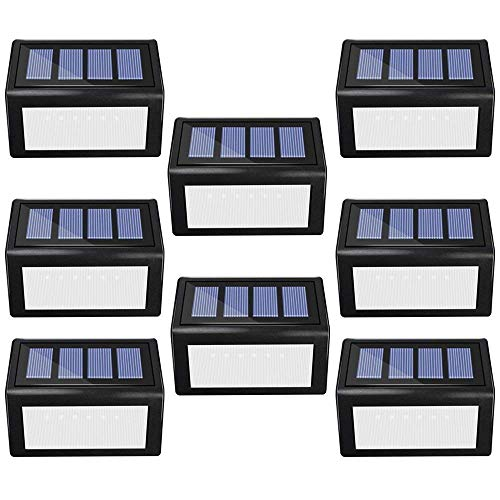 Solar Step Lights Outdoor - ANDEFINE 6 LED Solar Deck Lights Waterproof Security Lamps for Steps Decks Stairs Patio Pathway Fence (White Light, Pack of 8)
