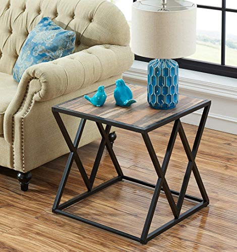 O&K Furniture Industrial End Table/Side Table/Accent Table/Night Stand with Metal Frame, Vintage Brown,1-Pcs