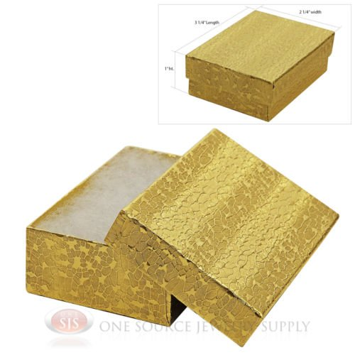 USA best supply Gold Foil Cotton Filled Gift Boxes Jewelry Cardboard Box Lots of 25