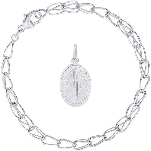 Rembrandt Charms Sterling Silver Cross Oval Charm on a Double Twist Bracelet, 8
