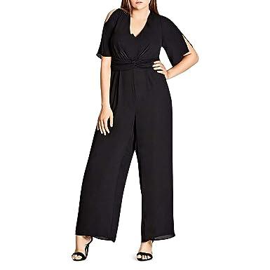 62a7c2b374fba Amazon.com  City Chic Womens Plus Wide Leg Cut-Out Back Jumpsuit Black 14   Clothing