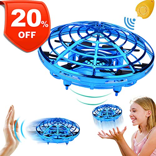 Mini Drone for Kids Adults,【July Deals】 Flying Ball Hand Controlled Quadcopter Light Up Flying Toys, Two Speed Auto-Avoid Obstacles 360°Rotating Helicopter Outdoor Toys Holiday Birthday Gifts]()