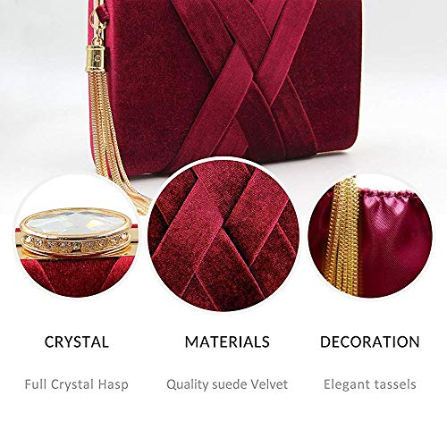 Clutch Banquet Bag Crystal with Purses Women's Flannel Green Bag Evening Metal Superw Tassels Bags wPqfz77x