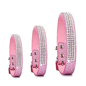 Pet's House Dog Collars for Large Dogs Female Personalized Dog Collars for Large Dogs Female Leather Pitbull Pink Spiked Girl Bling Sparkle Training Thick Shock (Large, Pink)